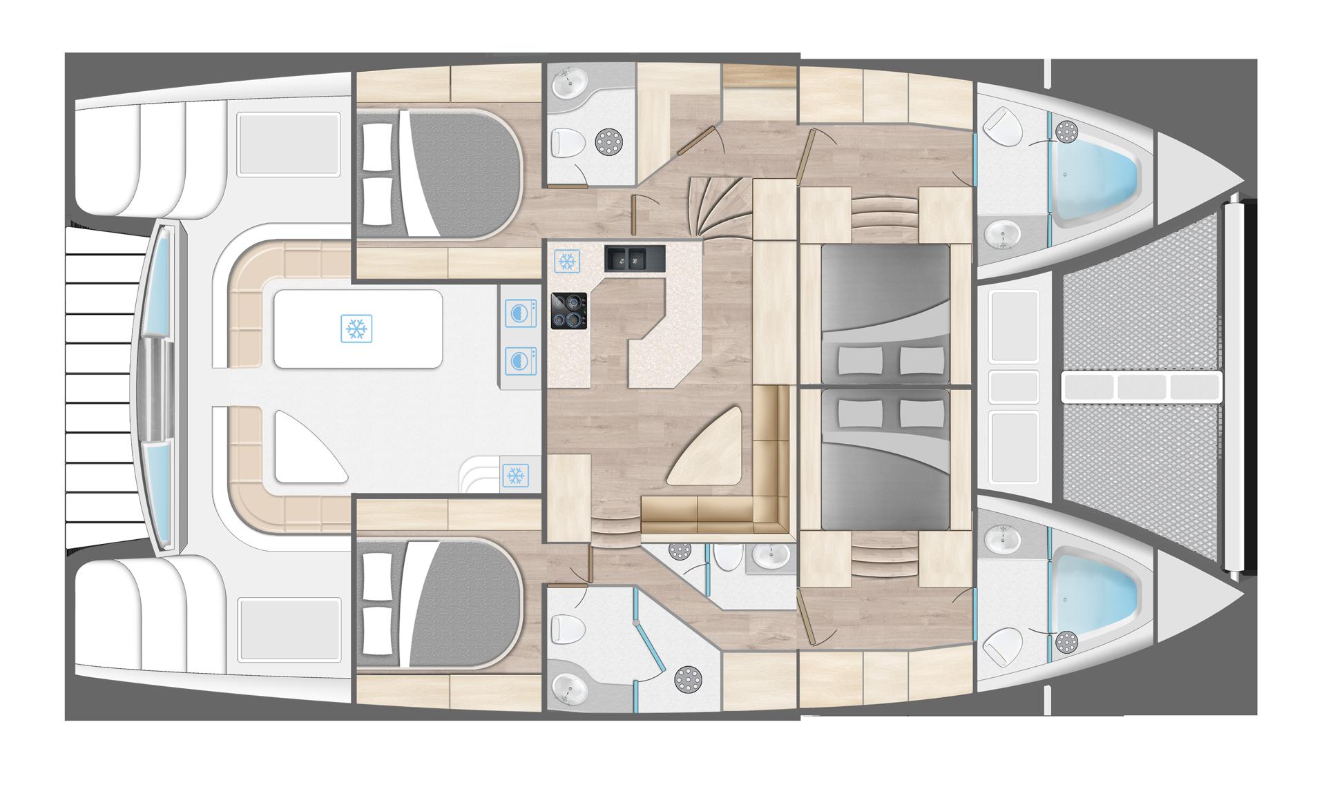 Royal Cape Catamarans, Majestic 530 Yacht cabin layout