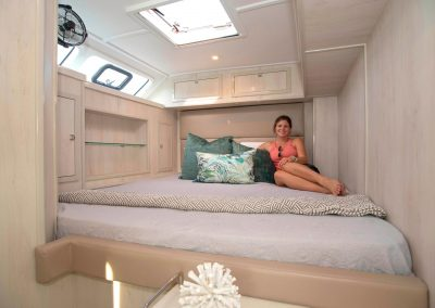 Royal Cape Catamarans, New Luxurious Majestic 570, girl in cabin